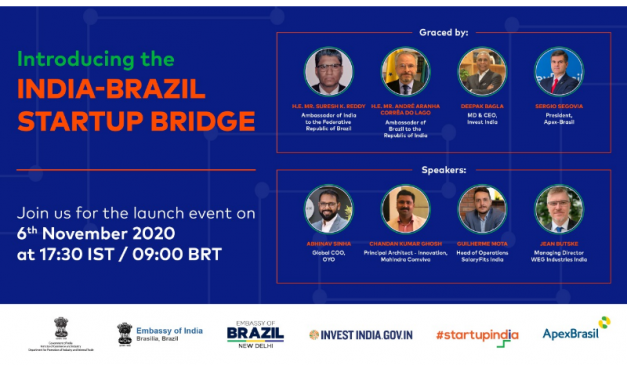 Embassy of India informs: India-Brazil Startup Bridge to be launched on 6th November 2020